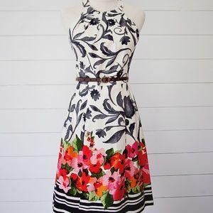 Eliza J Floral Print Belted Dress Size 2
